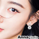 AnnaSofia 蝶晶碩圓鑽 925銀針耳針耳環(銀系)