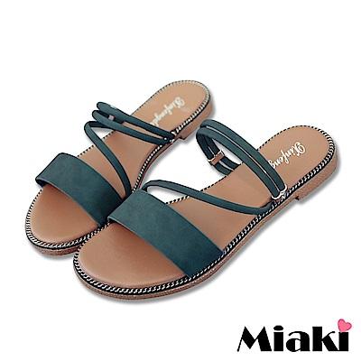 Miaki-涼鞋韓妞必Buy平底2穿涼拖-綠色