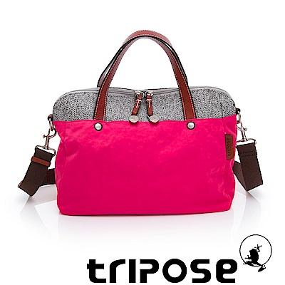 tripose 漫遊系列岩紋玩色兩用手提背包 桃紅