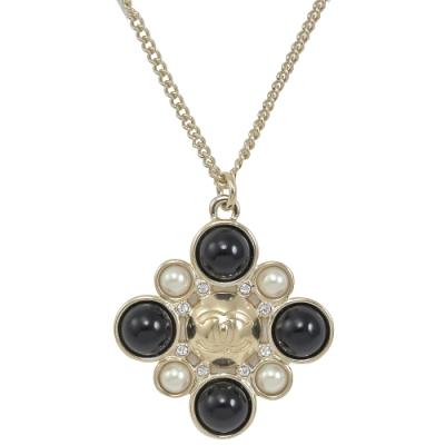 CHANEL 雙色珠珠水鑽裝飾經典CC LOGO項鍊(淡金)