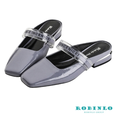 Robinlo隨性自在方頭真皮平底穆勒鞋 淺紫色