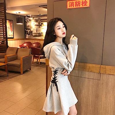 DABI 韓國風連帽心機設計感長袖洋裝
