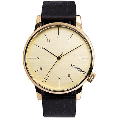 KOMONO Winston 腕錶-性格黑x白金/41mm