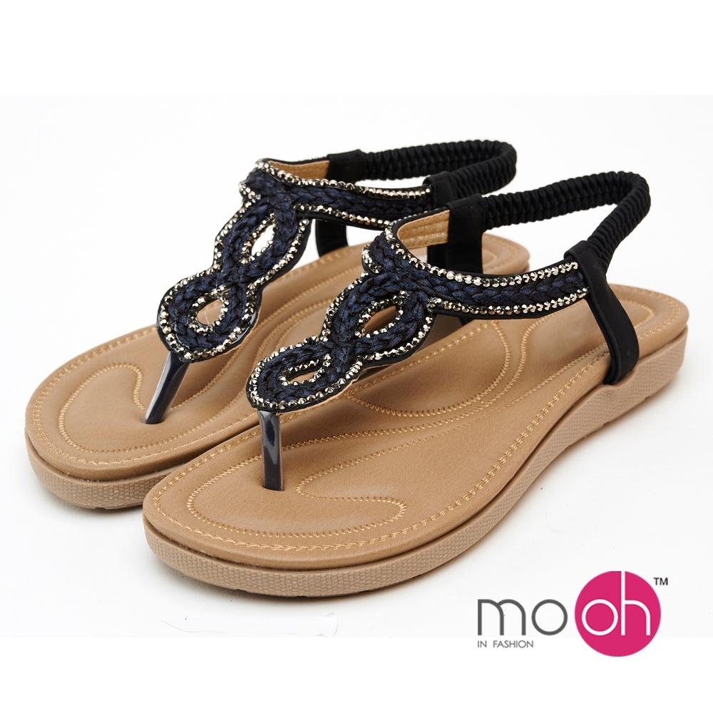 mo.oh民族風水鑽編織夾腳涼鞋-藍黑色