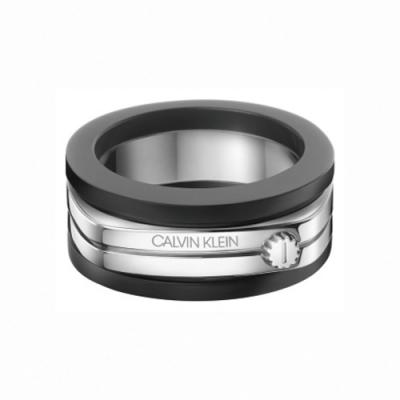 CALVIN KLEIN Mighty 系列魅力黑雙色男戒指-10
