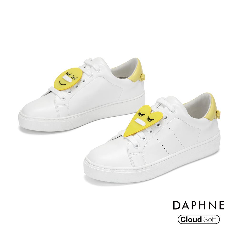 達芙妮DAPHNE 休閒鞋-幾何撞色綁帶休閒鞋-白