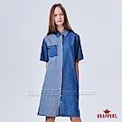 BRAPPERS 女款 雷射條紋短袖長版襯衫-藍