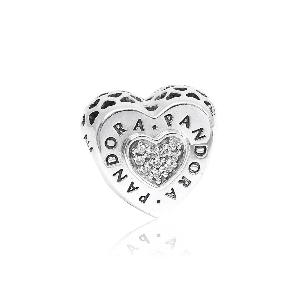 Pandora 潘朵拉 鏤空愛心鑲鋯 純銀墜飾 串珠
