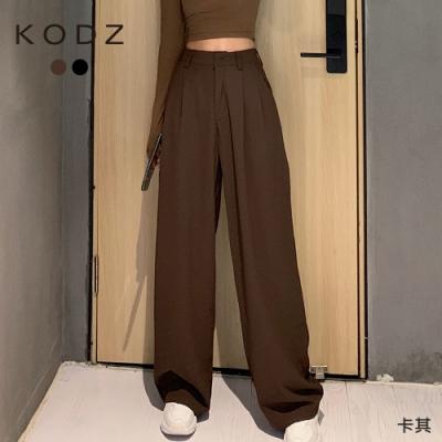 東京著衣-KODZ 隨興百搭高腰打摺設計落地寬褲/長褲-S.M.L