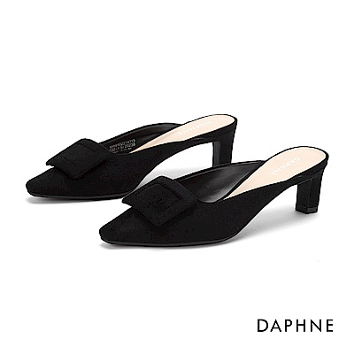 達芙妮DAPHNE 高跟鞋-優雅大方扣穆勒尖頭跟鞋-黑