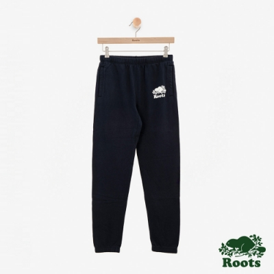女裝ROOTS - 彩色LOGO刷毛休閒棉褲-藍色