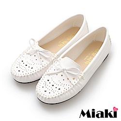 Miaki-豆豆鞋舒適好穿平底懶人鞋-白