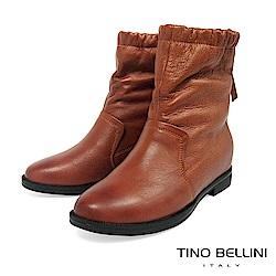 Tino Bellini 自然不對稱抓皺內增高中筒靴 _ 橘棕