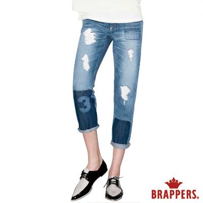 BRAPPERS 女款 BoyFriend系列-雷射補釘八分反折褲-淺藍