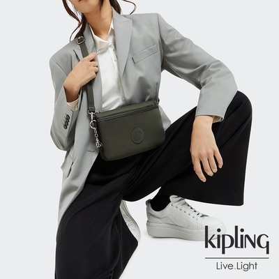 Kipling 深焙抹茶綠單肩隨身斜背包-RIRI