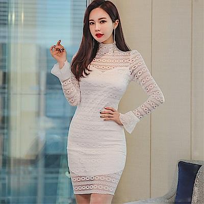 DABI 韓版OL氣質立領蕾絲鏤空修身喇叭袖包臀顯瘦長袖洋裝