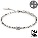 MASSA-G【Hermes】荷米斯之鍊金屬鍺錠白鋼腳鍊(1個字母)