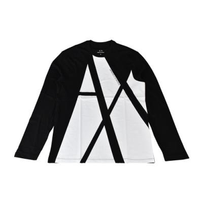 A│X Armani Exchange黑白對比字母LOGO純棉圓領長袖T恤(S/黑x白)
