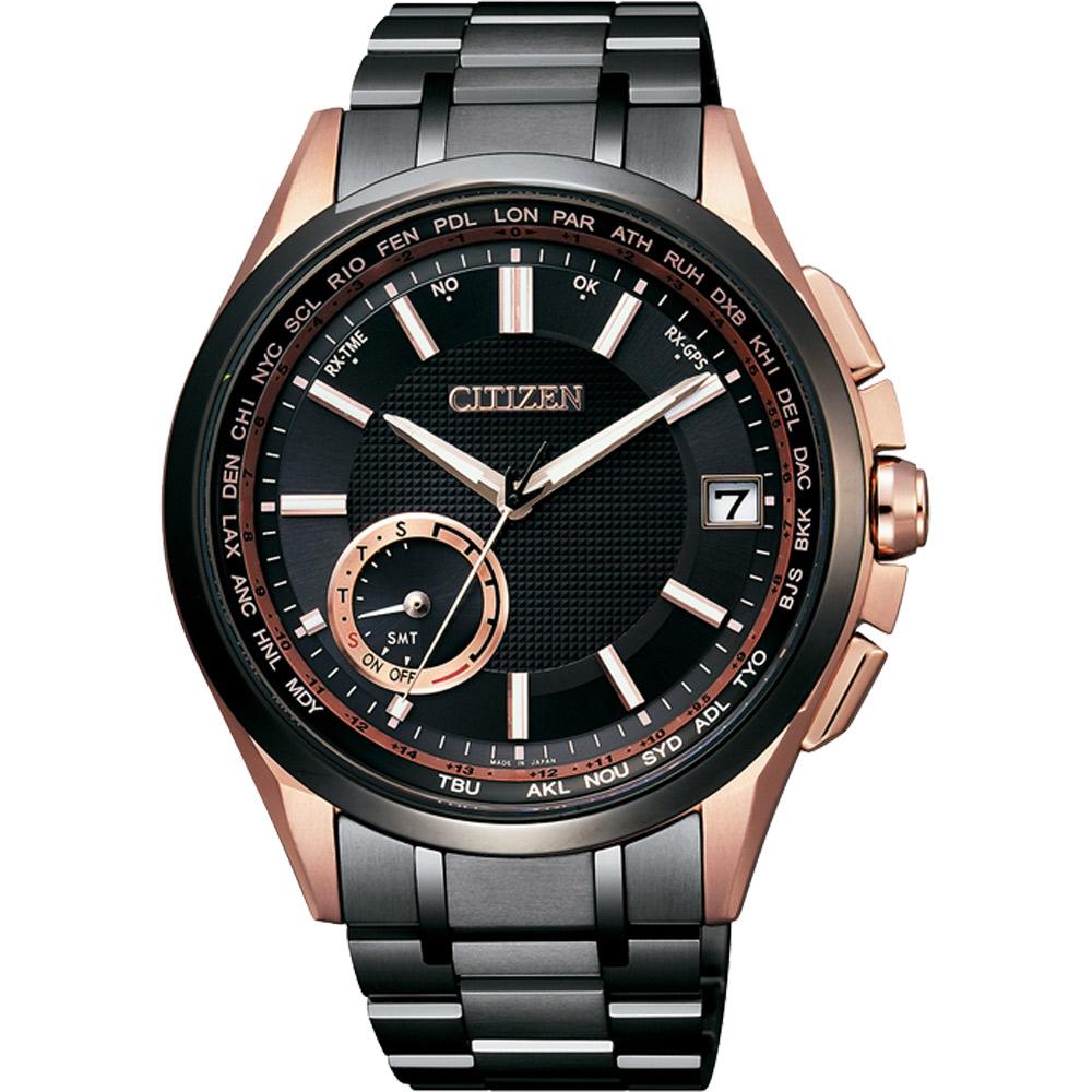 CITIZEN星辰GPS光動能衛星對時鈦限量錶-黑x玫瑰金/43mm CC3014-50E