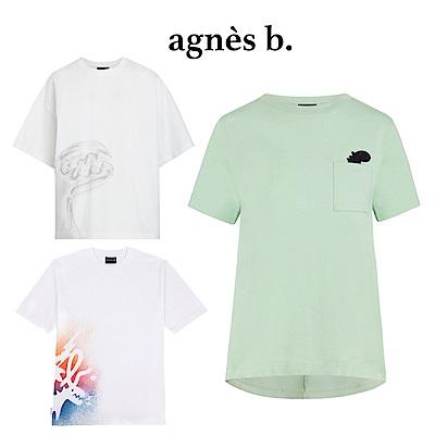 agnes b. - Sport b. 塗鴉恐龍印花圓領短袖上衣