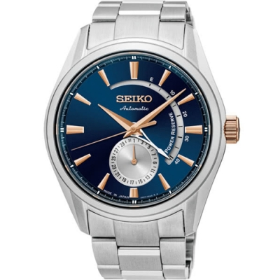 SEIKO 精工 Presage藍寶石防水機械錶-藍(SSA309J1)