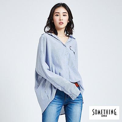 SOMETHING 亞維儂 直紋寬鬆襯衫-女-藍色