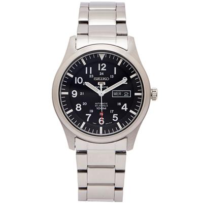 SEIKO 盾牌5號的機械手錶(SNZG13K1)-黑面/42mm