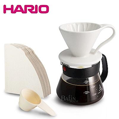 HARIO V60 2人份濾紙+義大利Balzano花瓣錐形濾杯(附贈台玻咖啡壺)