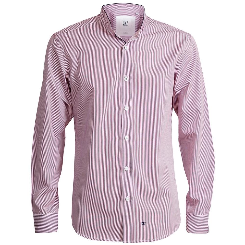 CR7-條紋立領修身版襯衫-紅 (8634-7200-311)