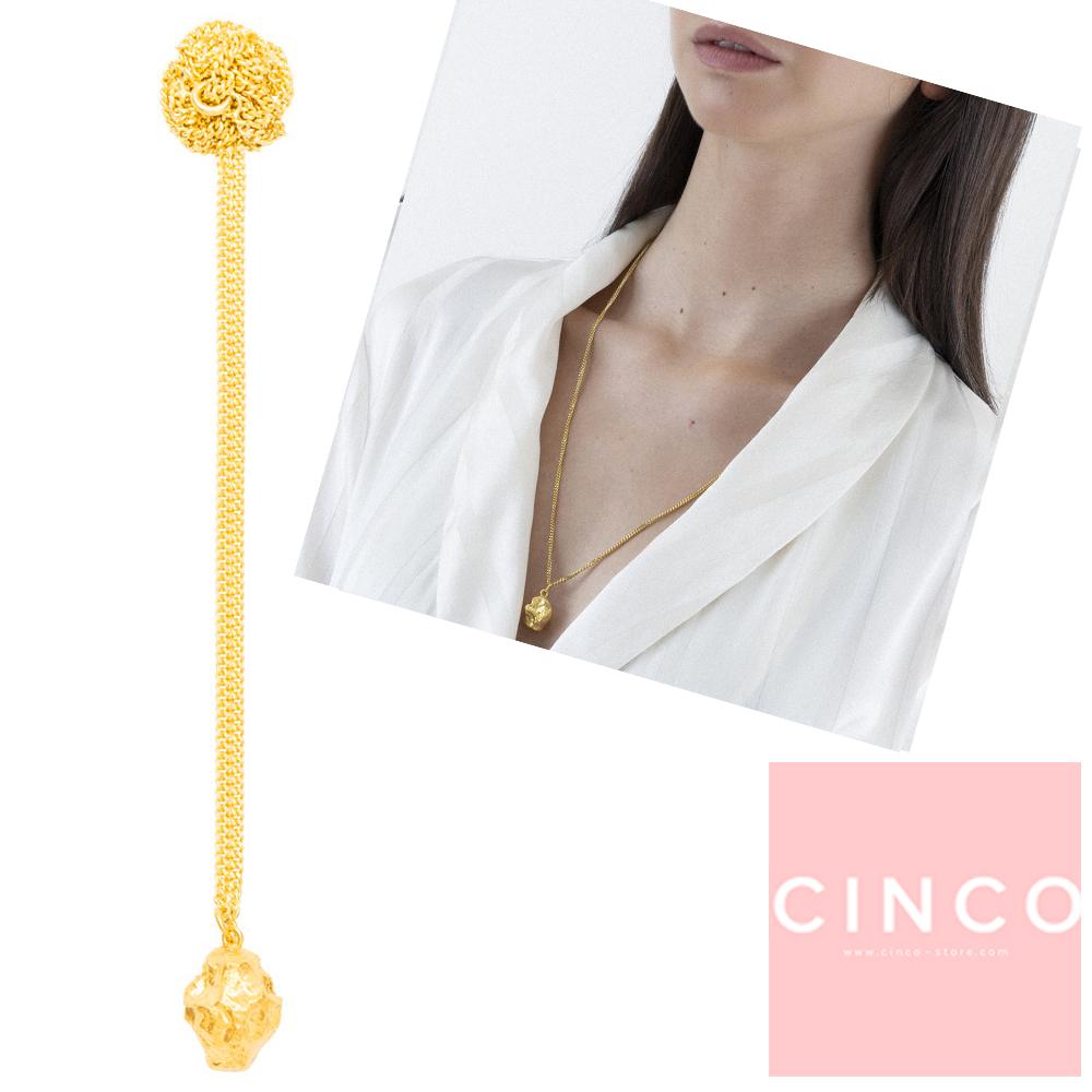 葡萄牙精品 CINCO Goldie necklace 925純銀鑲24K金塊項鍊 立體款