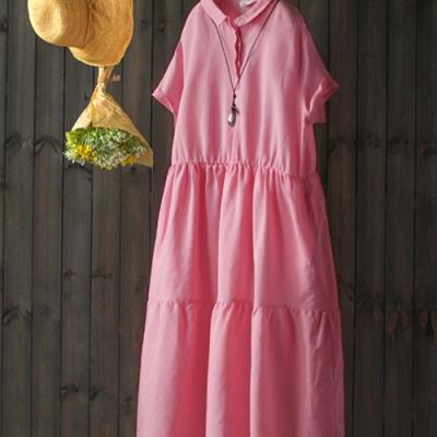 蜜桃粉苎麻蛋糕裙短袖棉麻長洋裝-設計所在