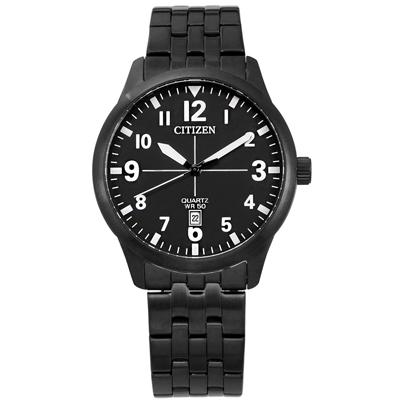 CITIZEN 清晰簡約 日期 礦石強化玻璃 日本機芯 不鏽鋼手錶-鍍黑/40mm