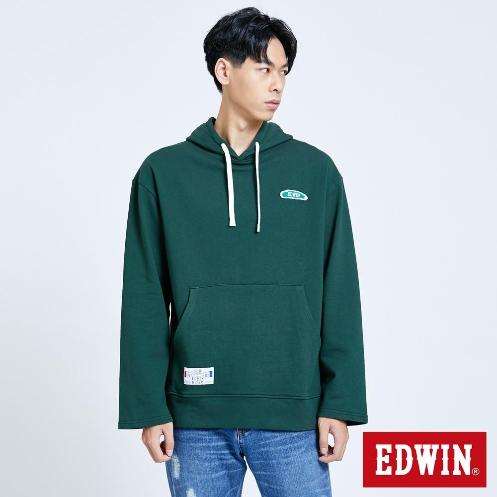 EDWIN 塗鴉系列 顏料徽章 厚連帽T恤-男-墨綠色