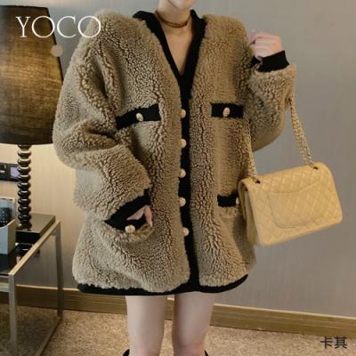 東京著衣-YOCO 熊熊小香V領排釦撞色毛毛外套