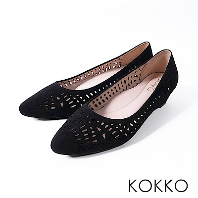 KOKKO -夏日甜心鏤空尖頭楔形跟鞋-經典黑