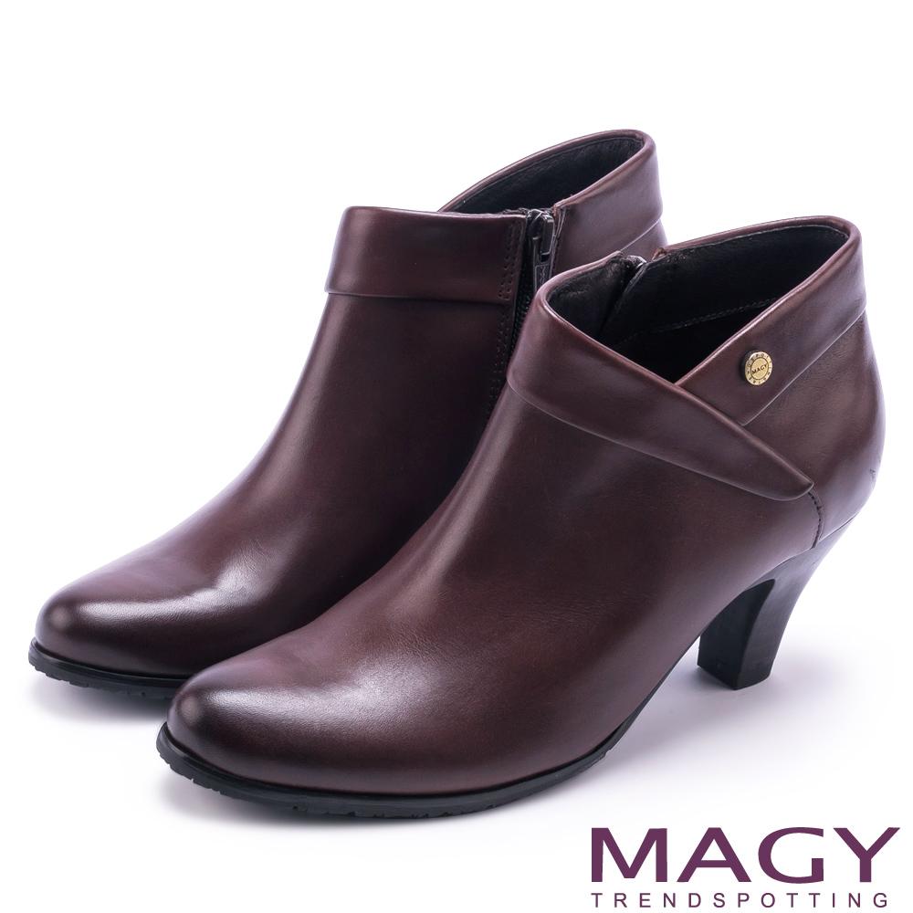 MAGY 復古時髦 反折鉚釘牛皮高跟裸靴-咖啡