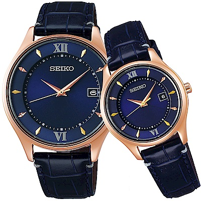SEIKO精工 SPIRIT 聖誕限量太陽能 鈦金屬對錶-藍/40+29mm