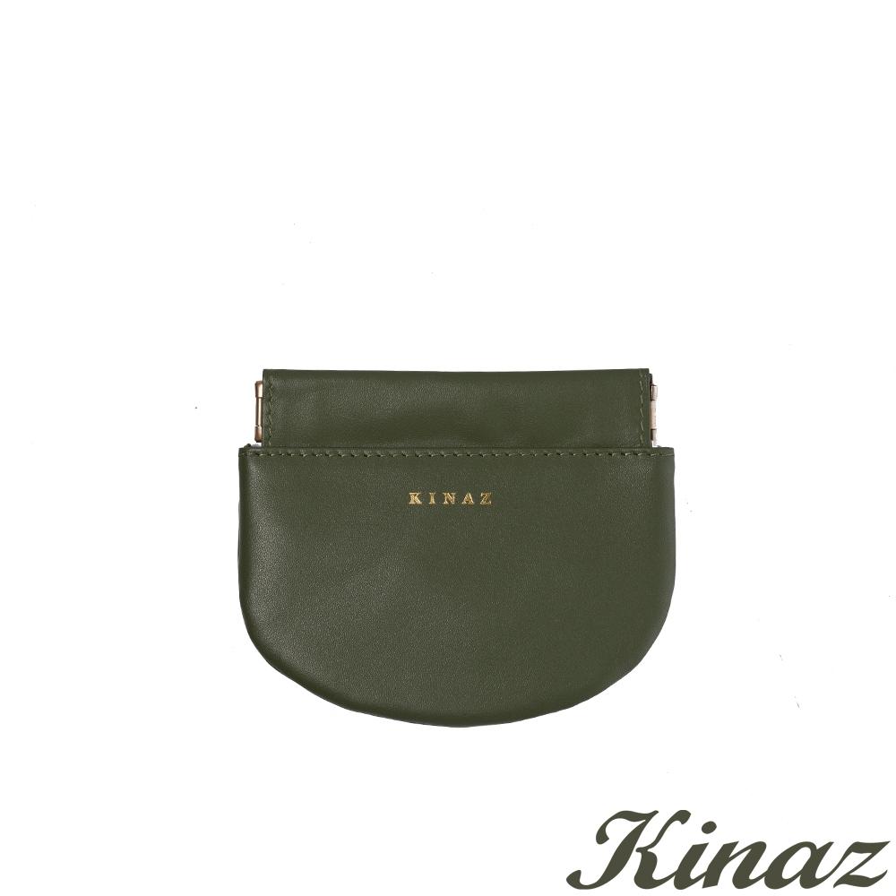 KINAZ 真皮彈簧萬用鑰匙零錢包-芥藍綠元素-小物魔法系列-快
