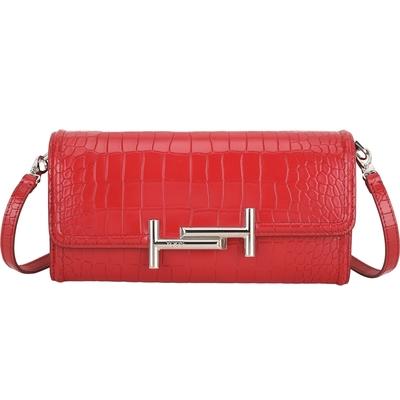 TOD'S Double T 金屬設計鱷魚壓紋小牛皮長夾式斜背包(紅色)