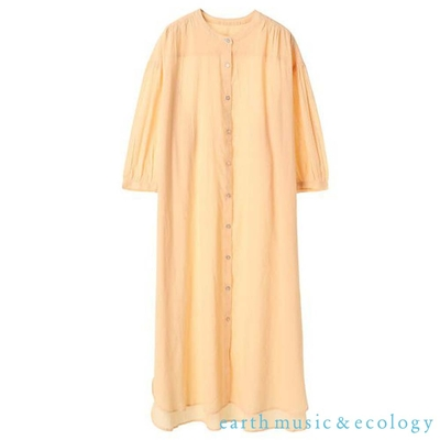 earth music 素面七分袖開襟純棉洋裝