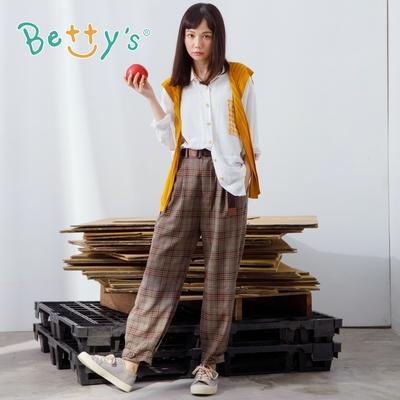 betty's貝蒂思 復古風格紋休閒褲(咖啡)