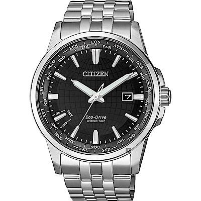 CITIZEN 星辰 限量光動能萬年曆手錶-黑x銀/41mm