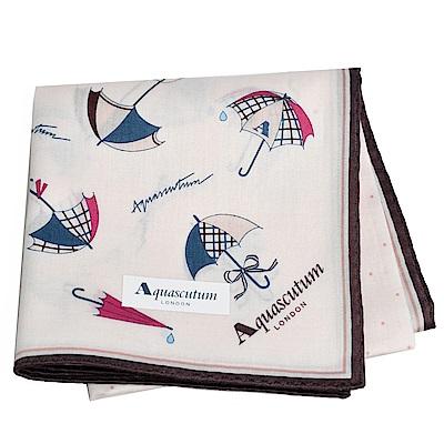 Aquascutum 風格時尚仕女品牌雨傘圖騰字母LOGO帕領巾(卡其系)