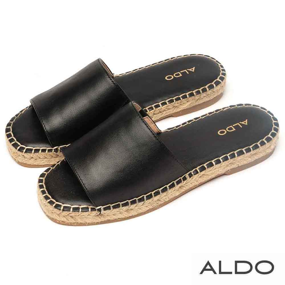 ALDO 原色寬版羊皮鞋面麻花編織底拖鞋~尊爵黑色