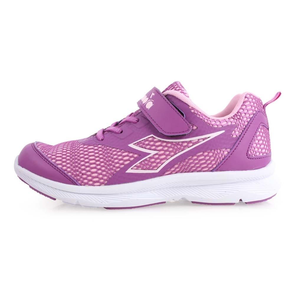 DIADORA 男女大童慢跑鞋-寬楦-路跑 訓練 魔鬼氈 紫粉