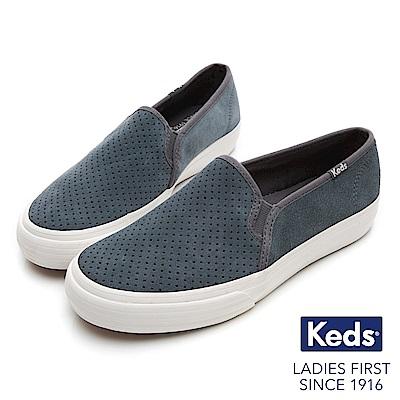 Keds 麂皮沖孔休閒便鞋-灰藍