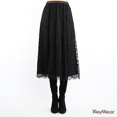KeyWear奇威名品    時尚透視星星蕾絲長裙-黑色