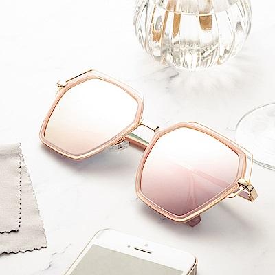 尚佰家 寶麗萊鏡片時尚造型抗UV太陽眼鏡-粉色框反光粉色(882A)