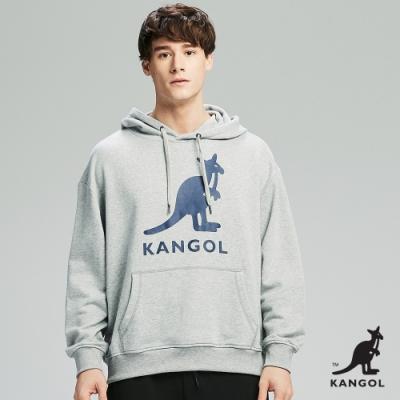 【KANGOL】Oversize大LOGO連帽上衣/帽T-男-灰