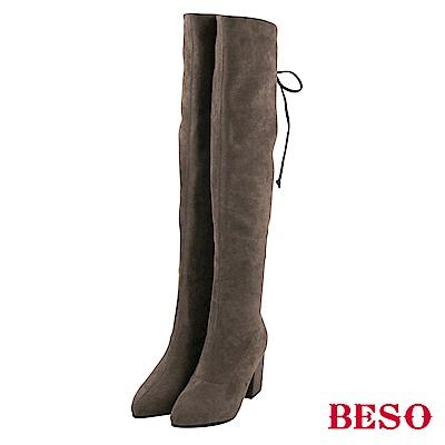 BESO 超模比例 絨質彈力過膝靴~灰褐